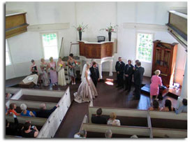 Balcony View of Old Round Church Wedding, Richmond, Vermont